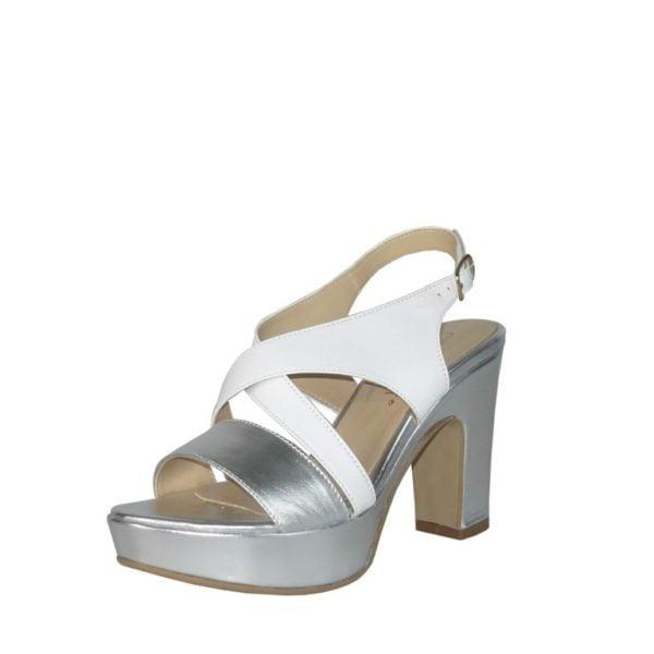 ebd65b0af1 Sandalo bicolore in pelle con tacco alto e doppio Cinzia Soft