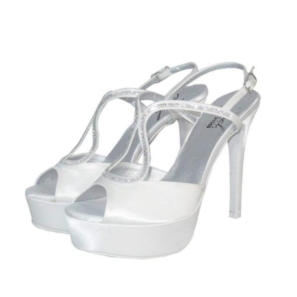 Scarpe Sposa Bianco Seta.Sandalo Sposa Gioiello Con Tacco Alto Joel Sandra Calzature