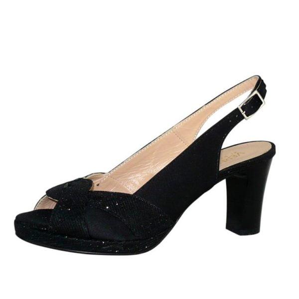Sandalo elegante in raso e tessuto glitter tacco medio Vernissage
